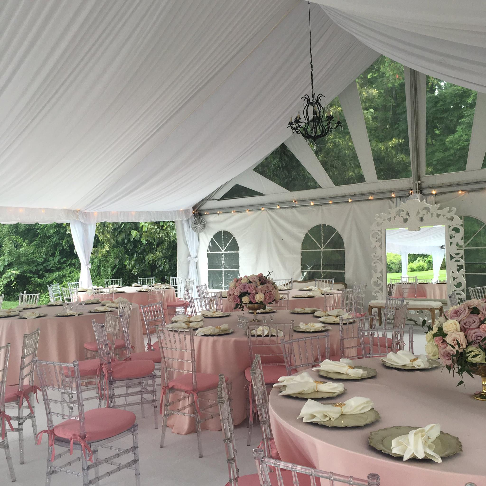 Beautiful pink and white engagement party